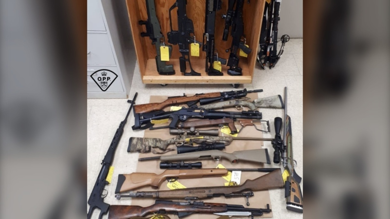 OPP officers executed warrants on Sept. 15, 2020, at two locations on Hartsmere Road, one in Carlo-Mayor Township and the other in Addington Highlands Township and seized multiple firearms, including semi-automatic rifles. (Supplied)