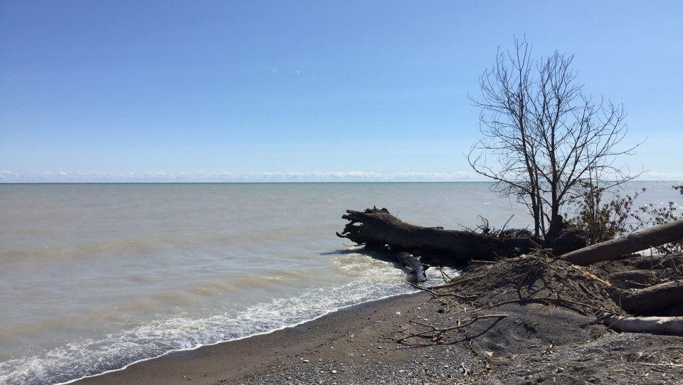 Lake Erie is seen from the shoreline in Port Glasgow, Ont. on Friday, Sept. 18, 2020. (Marek Sutherland / CTV News)