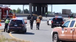 Police investigate a fatal crash on Highway 401 in Pickering. (Ted Brooks/CTV News Toronto)