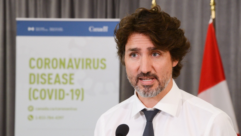 Prime Minister Justin Trudeau holds a press conference as he visits the Public Health Agency of Canada during the COVID-19 pandemic in Ottawa on Friday, July 31, 2020. THE CANADIAN PRESS/Sean Kilpatrick