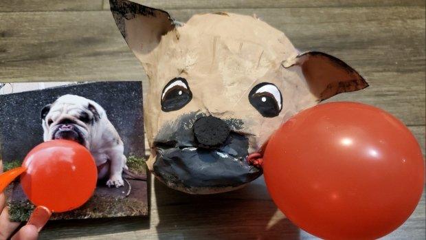 A pinata dog from Vancouverite Meaghan Kennedy's show is seen in this image provided by the artist.