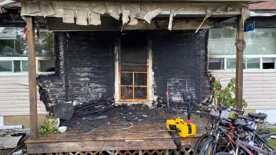 A house in Wasaga Beach, Ont., is damaged by a fire that started on the porch on Fri., Sept. 18, 2020. (Supplied)
