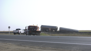 A semi truck and a train collided near Rouleau Sask. on Friday, Sept. 18.