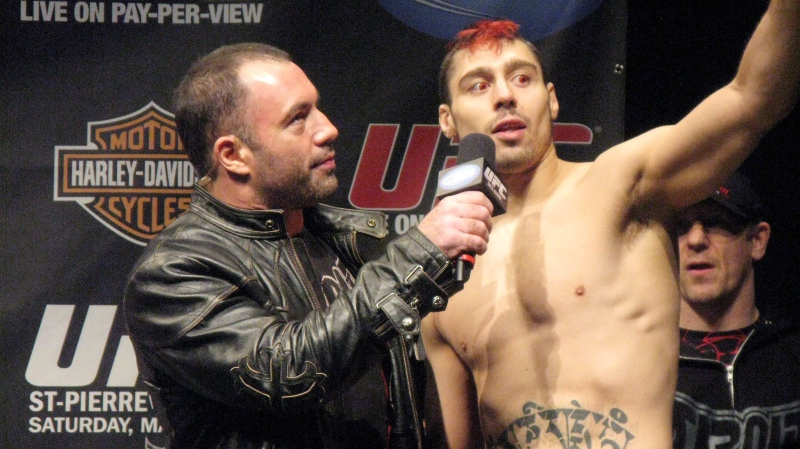 England's Dan (The Outlaw) Hardy is interviewed by Joe Rogan after making weight Friday March 26, 2010, at the Prudential Center in advance of his UFC 111 main event with Canadian welterweight champion Georges St-Pierre, in Newark, N.J. THE CANADIAN PRESS/ Neil Davidson