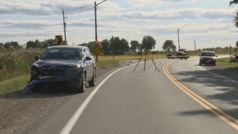 Police respond to a motorcycle crash in Brant County on Sept. 18, 2020