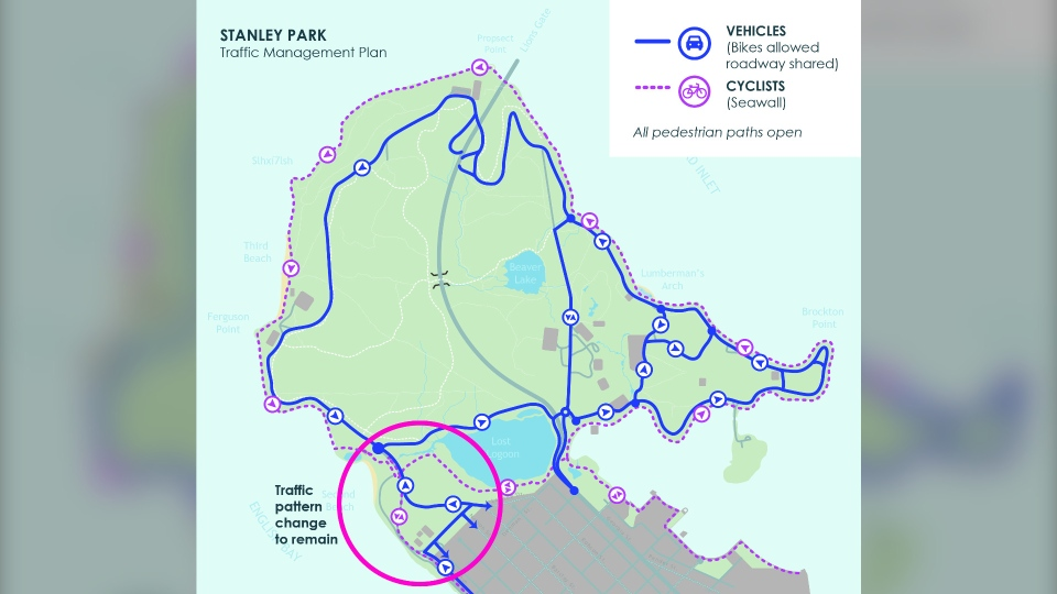 An image from the Vancouver Park Board shows the updated traffic management plan.