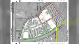 Prince Albert plans to build two 68,000 square foot hockey rinks, which will seat around 800 people each, and a 47,000 square foot aquatic centre on this parcel. (City of Prince Albert)