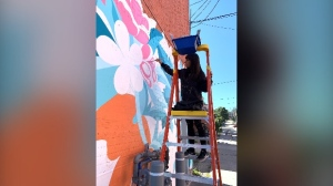 Stephanie Scott works on a piece of art in Waterloo (Jessica Smith / CTV News Kitchener)