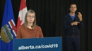 Dr. Deena Hinshaw, Alberta's chief medical officer of health, drew attention to the impact media coverage of school cases and outbreaks have had on those communities Friday.