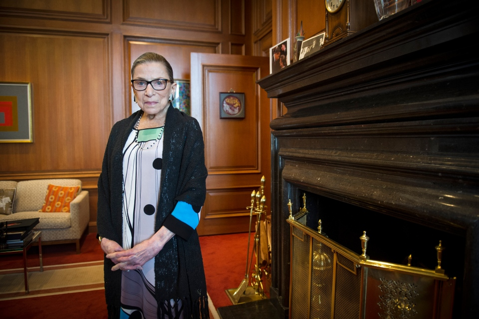 FILE - In this July 31, 2014, file photo, Associate Justice Ruth Bader Ginsburg is seen in her chambers in at the Supreme Court in Washington. The Supreme Court says Ginsburg has died of metastatic pancreatic cancer at age 87. (AP Photo/Cliff Owen, File)