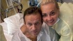 This handout photo published by Russian opposition leader Alexei Navalny on his instagram account, shows himself and his wife Yulia, posing for a photo in a hospital in Berlin, Germany. (Navalny instagram via AP)