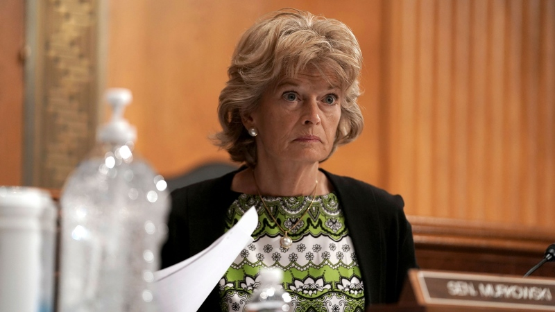 Sen. Lisa Murkowski, R-Alaska, asks questions during a Senate Health, Education, Labor and Pensions Committee hearing, Tuesday, June 23, 2020 on Capitol Hill in Washington, to discuss the lessons learned during the coronavirus. (Greg Nash/Pool via AP)