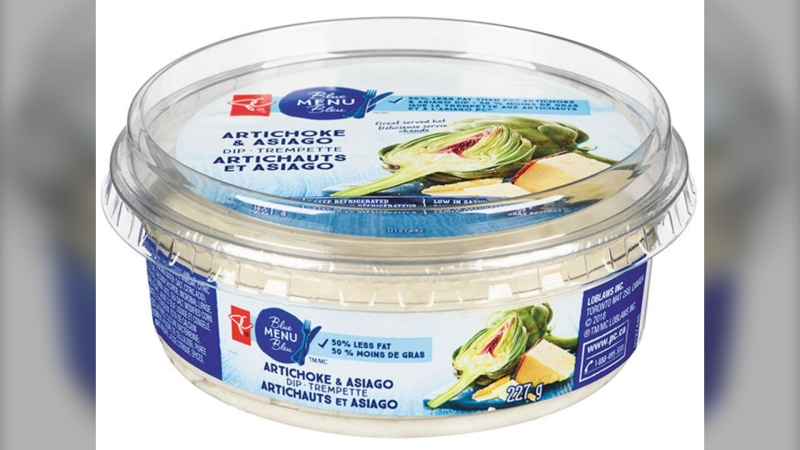 Loblaw Companies Limited is recalling PC Blue Menu brand Artichoke & Asiago Dip from the marketplace because it may contain egg which is not declared on the label. (Canadian Food Inspection Agency)