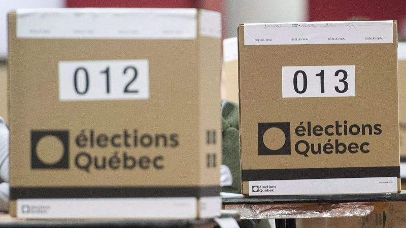 Ballot boxes are shown at a polling station in Montreal, Monday, Oct. 1, 2018. THE CANADIAN PRESS/Graham Hughes