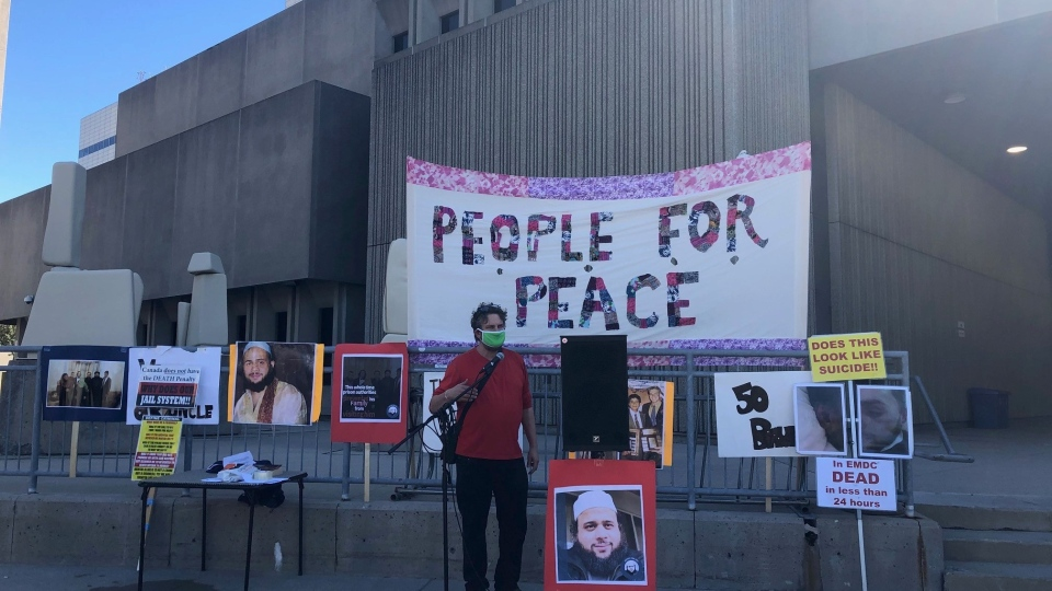 A rally is held in London, Ont. on Saturday, Sept. 19, 2020, calling attention to mental health issues within corrections facilities. 