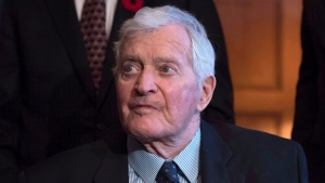Former prime minister John Turner looks on during a photo op to mark the 150th anniversary of the first meeting of the first Parliament of Canada, in Ottawa on Monday, Nov. 6, 2017. (THE CANADIAN PRESS/Justin Tang)