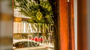 The door to the tasting room at Phillips Brewing and Malting Co. is seen in this image from the brewery's website.