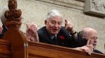 Former Prime Minister John Turner stands during question period in the House of Commons on Parliament Hill, in Ottawa on Monday, Nov. 6, 2017. THE CANADIAN PRESS/Sean Kilpatrick