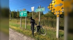 Montreal's Jean-Aime Bigirimana is cycling across Canada to raise money to send bikes to Africa. (Dylan Dyson/CTV News Ottawa)