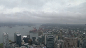 Images from CTV News Vancouver's camera atop the Shangri-La tower downtown showed significantly higher visibility Saturday than had been seen during the air quality advisory. (CTV)