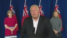 Premier Doug Ford talks about the new province-wide restrictions on social gatherings at a news conference on Saturday, Sept. 19, 2020.