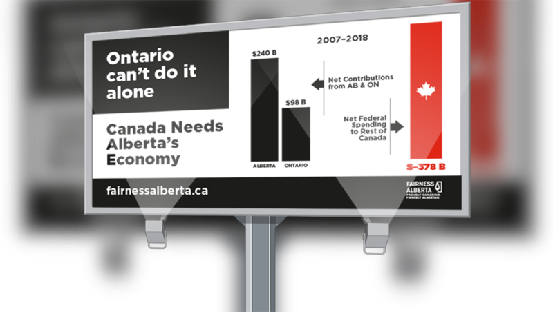 An Alberta-run orgazination is launching a billboard in downtown Toronto to help illustrate just how much Alberta contributes