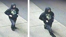 Mounties on Vancouver Island are asking the public for help identifying a man suspected of stabbing a store clerk in Courtenay Friday night before stealing money and cigarettes. (Comox Valley RCMP)