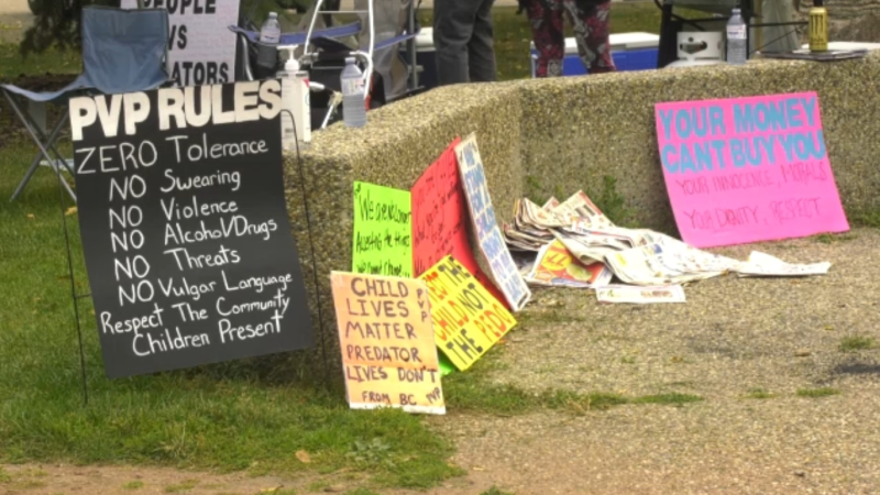 People came together on Saturday to protest Rodney Biggar, who is facing over a dozen sex-related charges.