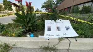 A memorial for Mohamed-Aslim Zafis is seen outside the International Muslim Organization mosque. (John Musselman/CTV News)