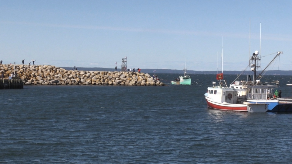 Indigenous fishermen and their supporters stayed at the Saulnierville wharf on Saturday.
