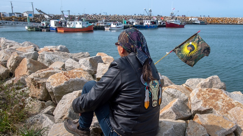 Members of the Sipekne'katik First Nation prepare to go fishing in Saulnierville, N.S., as it launches its own self-regulated fishery on Thursday, Sept. 17, 2020. The First Nation says a 1999 Supreme Court of Canada ruling, known as the Marshall decision, granted the Mi'kmaq the right to catch and sell lobster outside of the regular fishing season. THE CANADIAN PRESS/Andrew Vaughan