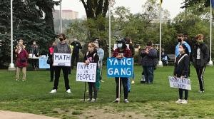 Basic income protest at the Alberta legislature grounds on Sept. 19, 2020. (Sean McClune/CTV News Edmonton)