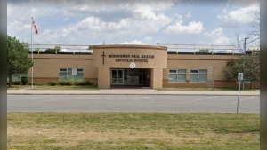 Monsignor Paul Baster School in Barrhaven is closed for 14 days due to a COVID-19 outbreak. (Photo courtesy: Google Streetview)