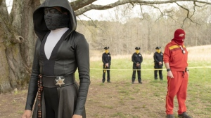 This image released by HBO shows Regina King in a scene from 'Watchmen.' The series is nominated for 26 Emmy Awards including one for outstanding limited series. (Mark Hill/HBO via AP)