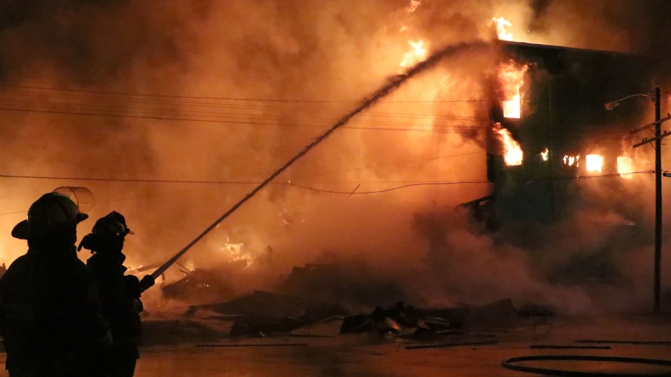 Easy Storage building on fire in Amherst, N.S.,