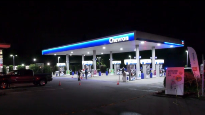 RCMP were called to a shooting at a Chevron gas station in Langley on Sept. 19, 2020.