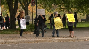 An anti-mask rally was held in Saskatoon on Sept. 19, 2020. Alison MacKinnon/CTV Saskatoon