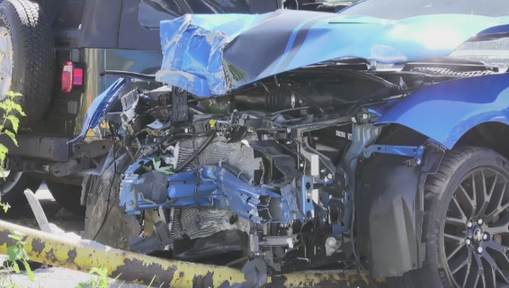 This vehicle had major damage following a crash at Walker Road and Ypres Avenue in Windsor, Ont. on Saturday, Sept. 10, 2020. (Alana Hadadean / CTV Windsor)