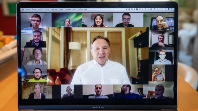 "Premier Francois Legault held a Zoom meeting with the CAQ's youth wing where he called a carbon-neutral Quebec in 2050 ""ambitious."" SOURCE: Francois Legault/Twitter"
