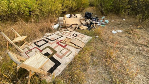 A Saskatoon man wants to bring attention to illegal dumping at the bike trails adjacent to the southwest off-leash dog park. Submitted by Michael Smith