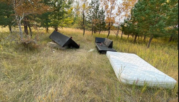 Couches other household garbage thrown along the bike trails in the outskirts of Saskatoon off Valley Road. Submitted by Michael Smith