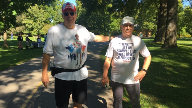 Tom Massel , left, and Keith Tapp have taken part in all 40 Terry Fox Runs. (Brent Lale / CTV London)