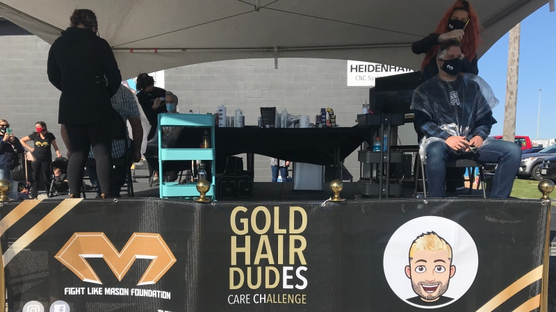 Dudes colour their hair with the Gold Hair Dudes Care Challenge, launched by the Fight Like Mason Foundation on September 20, 2020. (Angelo Aversa / CTV News)