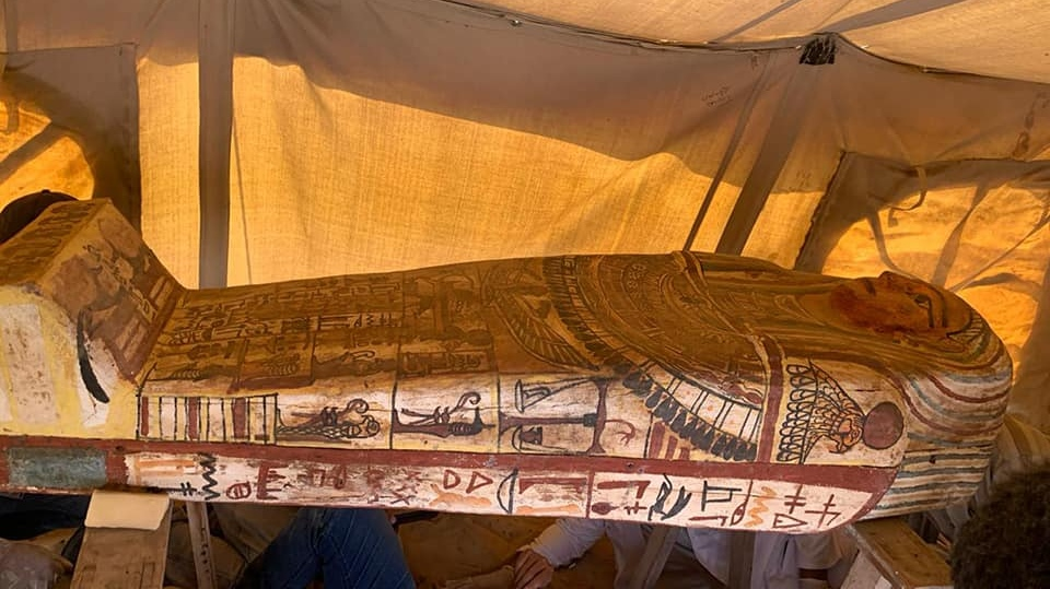 This image shows one of the new coffins excavated by archeologists this month in Egypt. (Egypt's Ministry of Tourism and Antiquities / Facebook)