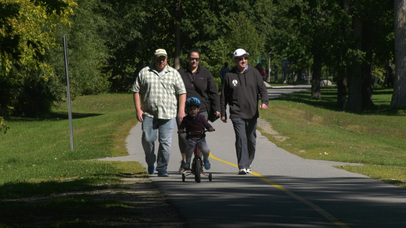 Glenn Hussey is joined by his family for the Multiple Myeloma March in Ottawa on Sunday.  The walk was held virtually due to the COVID-19 pandemic. (Shaun Vardon/CTV News Ottawa)