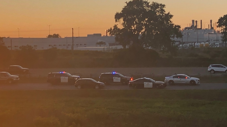 Police cars on scene of fatal accident Highway 401 at Culloden Road on Sunday September 20, 2020 (Jordyn Read / CTV News)