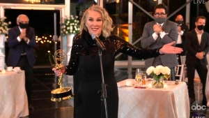 "In this video grab captured on Sept. 20, 2020, courtesy of the Academy of Television Arts & Sciences and ABC Entertainment, Catherine O'Hara accepts the award for outstanding lead actress in a comedy series for ""Schitt's Creek"" during the 72nd Emmy Awards broadcast. (The Television Academy and ABC Entertainment via AP)"