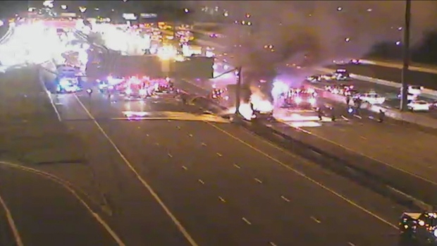Around 10:30 p.m,. Toronto fire crews responded to a tractor trailer that was on fire in the eastbound express lanes on Hwy. 401 approaching Kennedy Road.