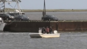 Local fishermen take part in the search for two 17-year-old boys who went missing when their small boat capsized off Prince Edward Island in September 2020.