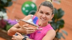 Simona Halep poses with her trophy after the final match at the Italian Open tennis tournament in Rome, on Sept. 21, 2020. (Alfredo Falcone / LaPresse via AP)